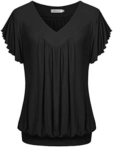 Helloacc Summer Short Sleeves Tops V Neck Ruffled Sleeve Loose Fitting Shirts