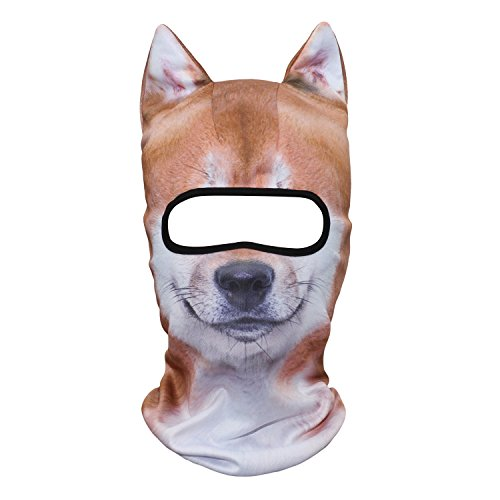 WTACTFUL 3D Animal Ears Balaclava Windproof Face Mask Protection for Skiing Snowboard Cycling Motorcycle Music Festivals Raves Halloween Party Summer Winter Cold Weather Outdoor Shiba Dog MEB-03 -
