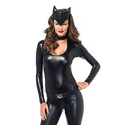 Leg Avenue Womens 3 Piece Frisky Feline Catsuit Costume