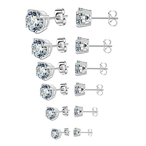 Outop Stud Earrings for Women Round Cubic Zirconia Stainless Steel Earrings Studs Plated White Gold, 3-8mm (6 Pairs) Cubic Zirconia Stainless Steel Earrings