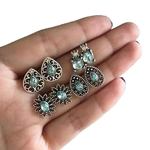 Kiloid Women Fashion Geometric Rhinestone Plastic Pearl Push Back Pierced Earrings Set Stud