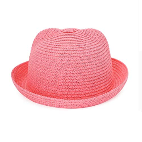LONIY] Brand Straw Hats Summer Baby Ear Decoration Lovely Children Character Girls and Boys Sun Hat Solid Kid