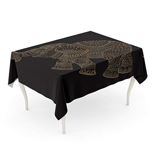Tarolo Rectangle Tablecloth 60 x 102 Inch Fantasy Ornate Elephant Silhouette Zentangle Doodle Sketch Golden Contour Thin Line Ethnic Ornaments Batik Paint Album Table Cloth ()