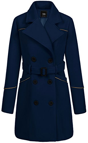 ZSHOW Women's Double Breasted Lapel Wrap Coat with Belt X-Large (Breasted Frock Coat)