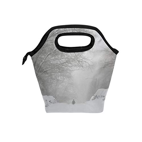 - Blizzard Scene Lunch Bag Reusable Tote Bag Insulated Lunch Box For Boys, Girls, Kids, Adults, Office, School