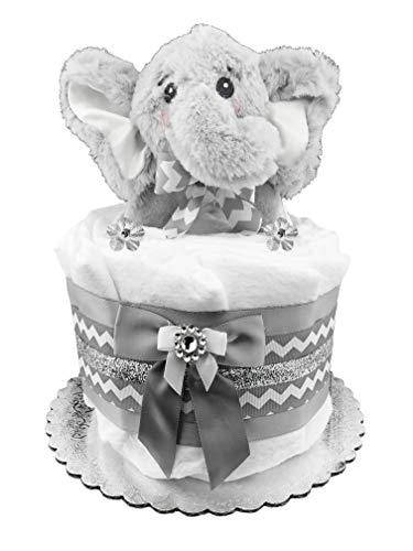 Elephant Diaper Cake - Baby Shower Gift - Newborn Centerpiece - Gender Neutral