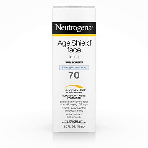 Neutrogena Age Shield Anti-Oxidant Face Lotion Sunscreen with Broad Spectrum SPF 70, Oil-Free & Non-Comedogenic Moisturizing Sunscreen to Prevent Signs of Aging, 3 fl. oz (Pack of 3) Antioxidant Oil Free Sunscreen