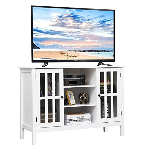 "Tangkula TV Stand, Classic Design Wood Storage Console Free Standing Cabinet for TV up to 45"", Media Entertainment Center Home Living Room Furniture, TV Stand Cabinet (White)"
