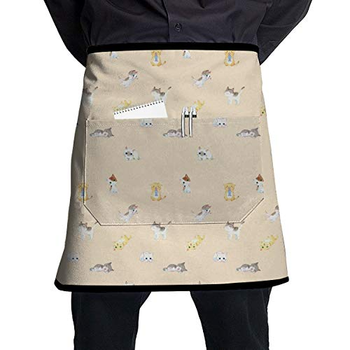 (Jaylon Pocket Half Length Short Waist Apron Cat Yellow Tail Cooking Apron with Pockets Home Kitchen Cooking Pinafore)