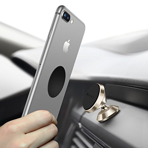 Magnetic Phone Holder for Car, Humixx 360° Adjustable Dashboard Cellphone Car Mount Holder for iPhone 8 8 Plus 7 7 Plus,Samsung S7 S8, HTC, LG, ZTE [Easy Series] (Gold)