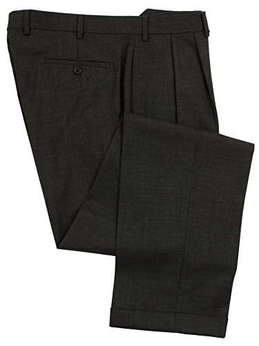 RALPH LAUREN Mens Double Pleated Charcoal Gray Wool Dress Pants - Size 34 x 32 (Double Pleated Dress Pants)