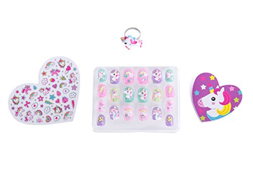 Hot Focus Pop Nail Glitz - 3D Unicorn Nail Art Kit for Girls - 65 Piece Set Includes 3D Press on Nails, Nail Stickers, Nail File and Ring by Hot Focus (Image #1)
