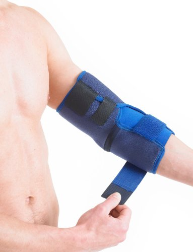 Neo G Elbow Support - For Epicondylitis, Tennis Golfers Elbow, Sprains, Strain Injuries, Tendonitis, Arthritis, Recovery, Sports - Adjustable Compression - Class 1 Medical Device - One Size - Blue by Neo-G (Image #2)