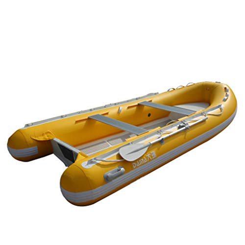 HYYQG Inflatable Kayak 6-Person&Sea Kayak,Set with All Aluminum Alloy Bottom Wear-Resistant,Sturdy,Accessories,Paddles,Shoes,Cover,Anchor,Straps,Pump, Yellow