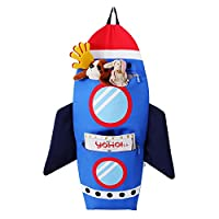 Hugmii 2 Pocket Over The Door Wall Hanging Storage Bag Organizer for Clothes Magazine Toy for Living Room Bedroom-Blue