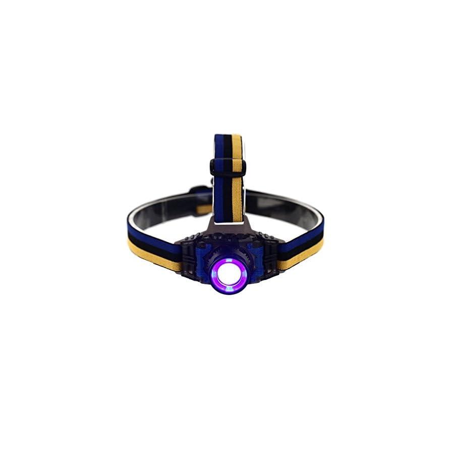 Welltop® Zoomable UV Ultraviolet Led Purple Light 3 Modes Ultraviolet LED Zoom Headlamp for Money Detector, Leak detector and Cat Dog Pet Urine Detector headlamps