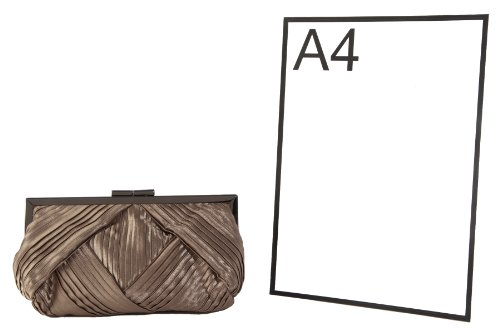 brown bag Berg block with lock handbag Mocha Olga closure pleated framed by clutch UtddqwA