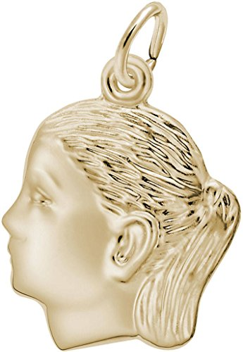 Rembrandt Classic Girls Head Charm - Metal - Gold-Plated Sterling Silver