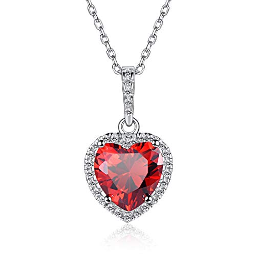 Heart Necklace Love Garnet January Birthstone Necklace Sterling Silver Gemstone Pendant Heart Jewelry Gifts for Women Girls ()