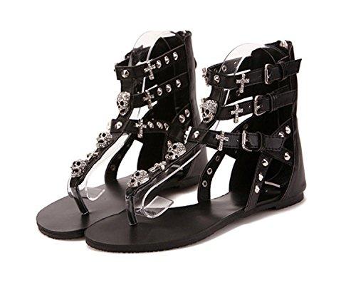 Sandals Women Sandals Roman Shoes NEW Shoes Skull Fashion Women Style Cross Sandals Summer Black Flat Flat tt1F7