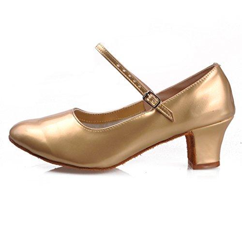 WYMNAME Mujeres Zapatos De Baile Latino,Tacones Mediados Suelas De Goma Cuadrado Zapatos De Baile Social Sandalia Dorado