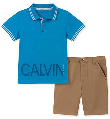 Calvin Klein Baby Boys 2 Pieces Polo Shorts Set, Blue, 12M -