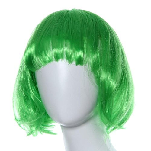 [Vibola Masquerade Small Roll Bang Short Straight Hair Wig Wave head (green)] (70s And 80s Party Costumes)