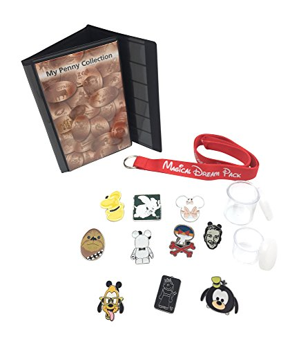 Penny Coin Costume (Disney Vacation Set with 12 Trading Pins, Park Packs Lanyard, Pressed Penny Collection Book, and 2 Coin Holders)