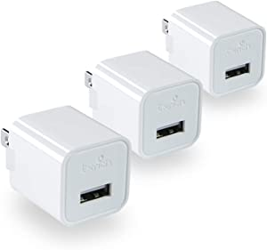 TXRICH USB Wall Charger, 5V/1A 3-Pack (ETL Listed) Charger Brick Base Adapter Charging Block Charger Cube Plug Charger Box.(A-White)