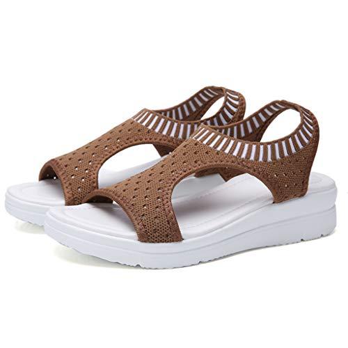 WENSY Women's Mesh Breathable Comfort Hollow Leisure Wedge Heel Shoes Sandals Flat Open Toe Non-Slip Platform Shoes(Khaki,36)