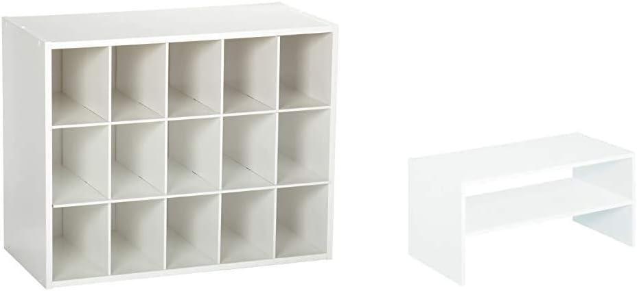ClosetMaid 8983 Stackable 15-Unit Organizer, White & 8993 Stackable 24-Inch Wide Horizontal Organizer, White