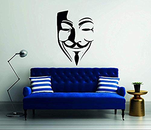 Guy Fawkes Vendetta Anonymous Mask Face Silhouette Home Bedroom Room Wall Decals Decor Vinyl Sticker SK14493
