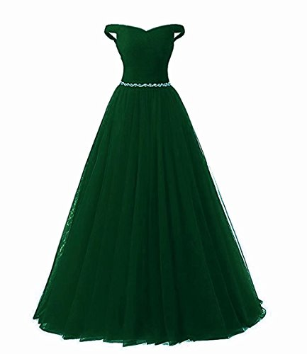 LiCheng Bridal A-line Off Shoulder Sweetheart Long Tulle Prom Ball Gown with Beaded Belt Formal Evening Dress Corset Back Green US18 Plus (Back Gown Evening)