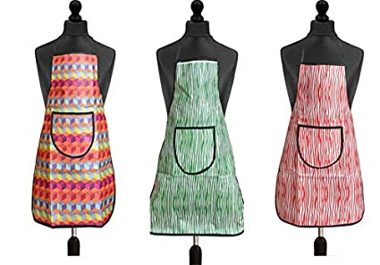 JASS HOME DECOR Modern PVC Waterproof Kitchen Apron with Front Pocket Apron Combo Set of 3