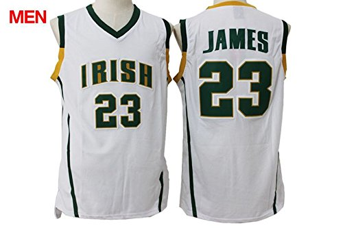 new style a65f4 562c8 Fighting Irish #23 LeBron James White High School Jersey ...