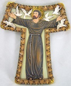 Scrollwork Cross (Renaissance Collection Joseph's Studio by Roman Tau Cross, Features Saint Francis with White Doves and Intricate Scrollwork Around Cross Perimeter, 8.75-Inch)