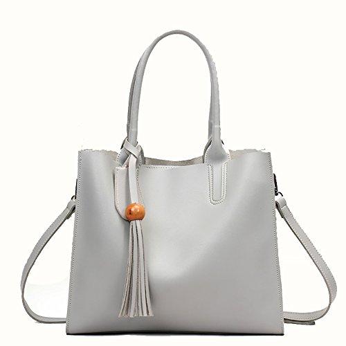 Gxycp Pu Solid Color Ladies Fashion Bag Retro Shoulder Bag Multi-function 32cm × 28cm Messenger Five Colors, White