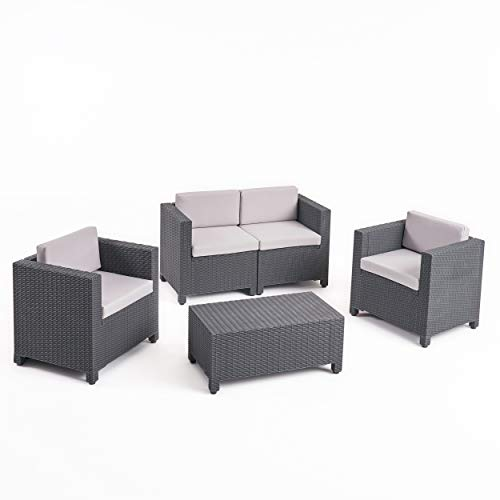 (Christopher Knight Home 309024 Waverly All Weather Faux Wicker 4 Seater Chat Set with Cushions, Dark, Grey )