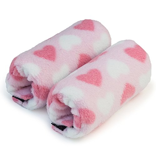 Sculpted Heart - Universal Crutch Hand Grip Covers - Luxurious Soft Fleece with Sculpted Memory Foam Cores (Love & Hearts)