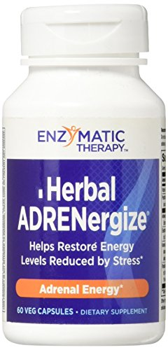 Enzymatic Therapy Herbal ADRENergize® Synergistic Vitamin & Herbal Formula Energy Support, 60 VCaps