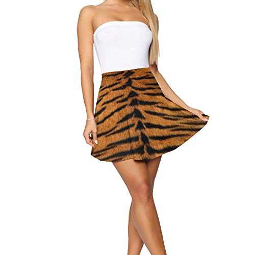 PLAYALLFUN Casual Tiger Fur Women's Mini Short Skirt Skater Yoga Beach Shorts Tennis Skirt Workout Active Apparel Sports Sexy Skorts XL