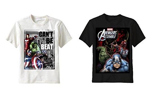[Superhero T- Shirts : Spiderman and Avengers (Pack of 2) (4, Superhero Avengers T , White + Avengers Assemble T ,] (Avengers Superhero)