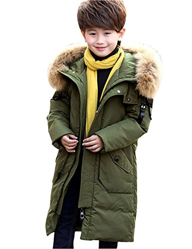 Menschwear Boy's Down Fur Hooded Jacket Winter Warm Outwear Winter Coat (130,Army-Green) by Menschwear
