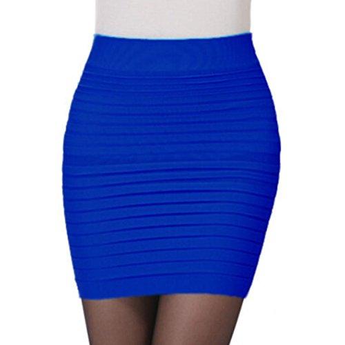 lastique Jupe Femme Couleur Hip unie Bleu taille pliss Lenfesh courte Fashion Mini Paquet Haute dq6wntX