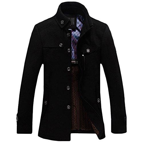 - WEEN CHARM Men's Fitted Overcoat Cashmere Pea Coat,Black,Medium