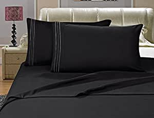 "Elegance Linen ® Wrinkle Resistant - 1200 Thread Count Silky Soft Luxurious 4-Piece Sheet Set, Deep Pockets Fits Up to 16"" - Queen, Black"