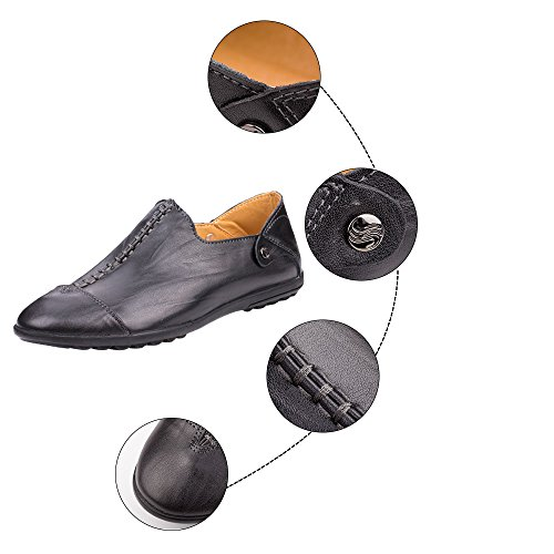 Robasiom Mens Casual Flat Mocassini Fashion Slip On Driving Shoes Nero