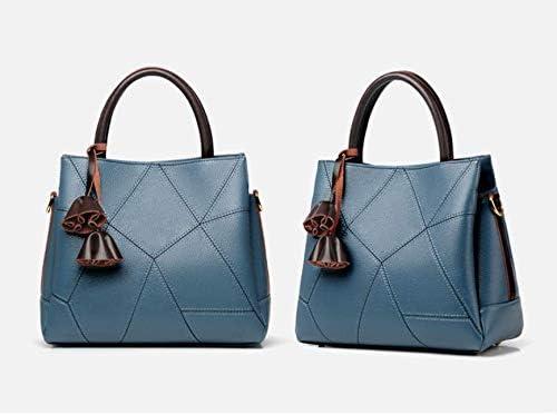ママハンドバッグメッセンジャーバッグ女性用バッグ中年女性用バッグファッションショルダーバッグ大容量義母用バッグブルー(ロングショルダーストラップ付き)