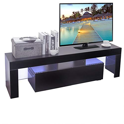 Holarose Modern LED TV Cabinet - Nordic Style TV Stand with Contemporary TV Entertainment Center, for Living Room Storage Furniture (Black 3) ()