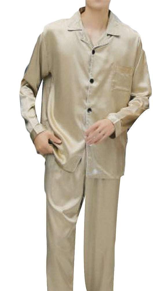 Blyent Mens 2 Piece Couple Sleep Button Sleek Smooth Comfy Pajamas Set